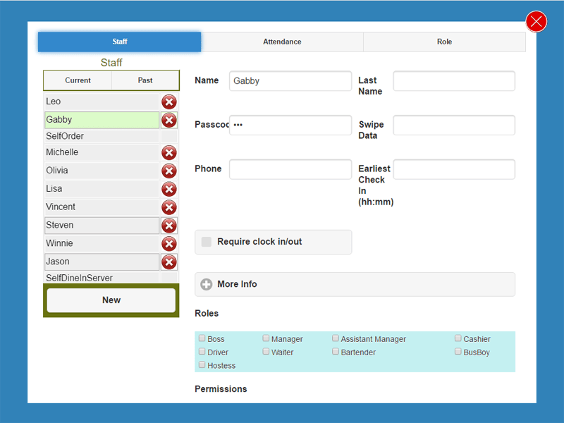 Restaurant POS System Interface_Staff Admin Page